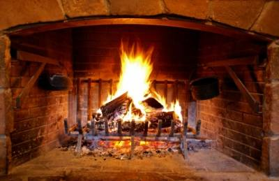 an open fireplace